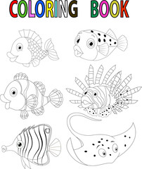 Cartoon fish coloring book