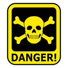 Yellow Danger Sign With Skull And Crossbones – Isolated