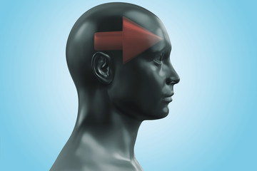 Think forward, Human head with red arrow - 3D