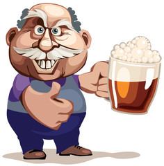Senior man with beer