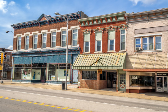 Ornate downtown shops and storefronts on main street in Midwest small town