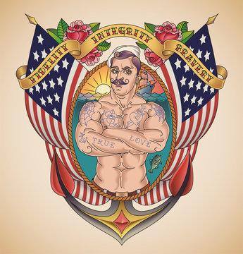 Handsome American Sailor Tattoo