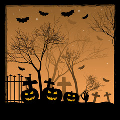 Festive illustration on theme of Halloween. Trick or treat