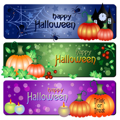 Festive banners on theme Halloween with field for text