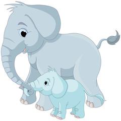 Cute elephant family