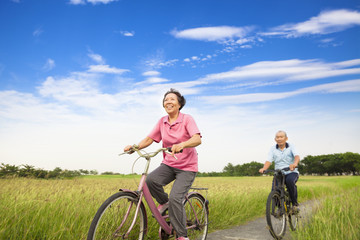 Happy Asian elderly seniors couple biking in farm
