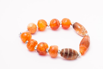 Agate Bracelet Isolated On White Background.