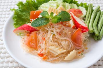 vermicelli salad,Thailand food noodle salad,and spisy salad