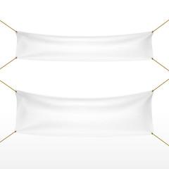 white textile banners set