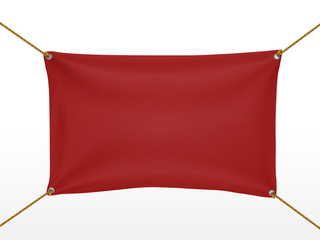red textile banner