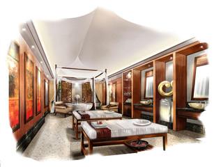 sketch perspective interior,rendering perspective spa room
