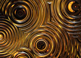 abstract pattern of golden wet symmetrical ripple circles