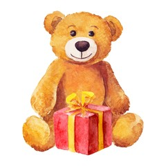 teddy bear sits with a red gift. Watercolor.