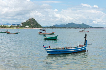 Fishing boats moored at the Gulf Prachuap, Prachuap Khiri Khan P
