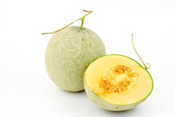 Melon cut on white background