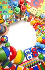 border of very many toys