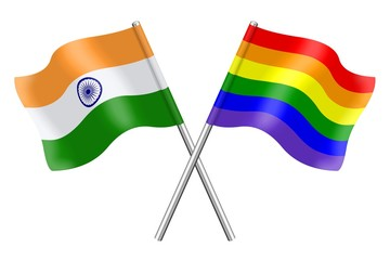 Flags: India and rainbow