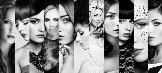Beauty collage. Faces of women Wall mural