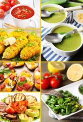 Collage of vegetable dishes