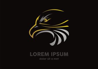eagle head gold logo vector