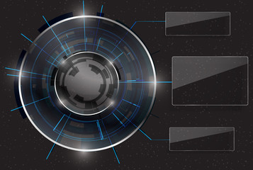 Abstract Modern technology circles with glossy or glass text