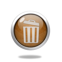 trash can circular icon on white background