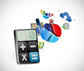 calculator business icons illustration