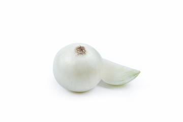 Wall Mural - One White Onion and Sliced Piece - Clipping Path Inside