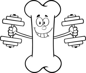 Black And White Smiling Bone Character Training With Dumbbells