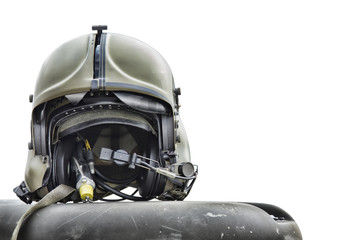 Helicopter pilot helmet isolated on white