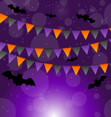 Halloween background with hanging flags