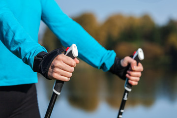 Closeup of woman's hand with nordic walking poles Wall mural