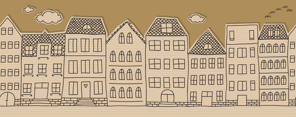 Horizontal seamless doodle houses pattern