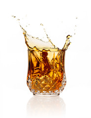 Whiskey Splash Isolated on White Background