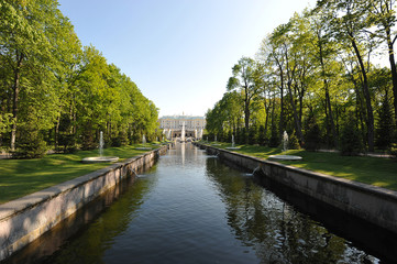 """The Peterhof fountain """"Samson tearing the lion's mouth"""" and the"""