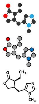 Pilocarpine alkaloid drug molecule.