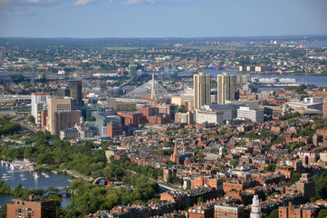 Beacon Hill and Zakim Bunker Hill Bridge, Boston