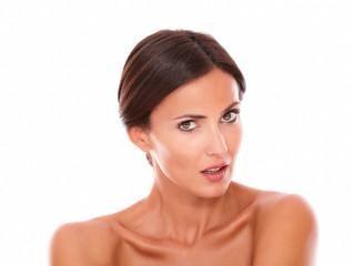 Sexy hispanic female looking at camera