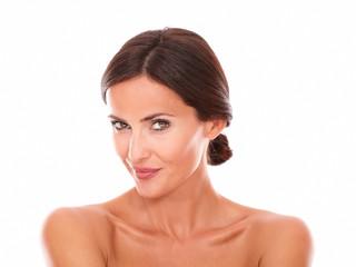 Sexy mature woman smiling at camera