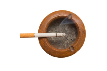 Cigarette on ashtray