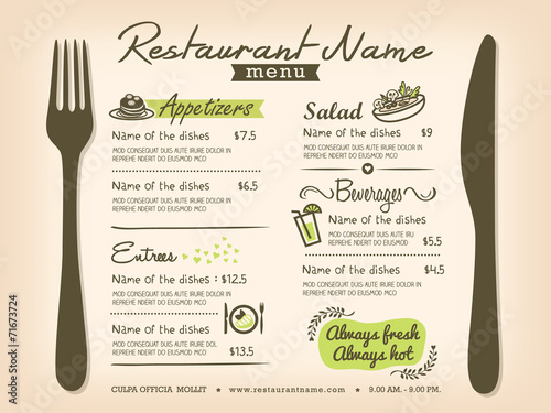 Restaurant Placemat Menu Design Template Layout Stock Image And
