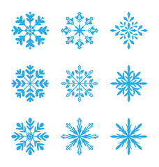 Collection of variation snowflakes isolated on white background