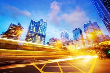 traffic light trails of modern business city Fotomurales