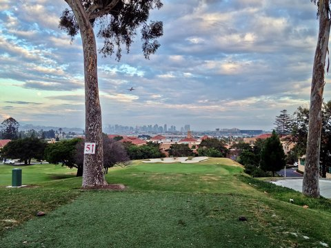 Golf Course Tee-Box with a view of San Diego city skyline,