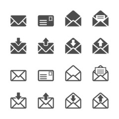 email and letter icon set, vector eps10