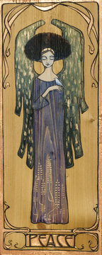 Beautiful angel with small white bird in hand, painted on a wood