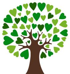 Hearts tree - green