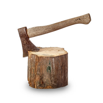 Old axe stuck in log