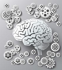 Vector illustration brain and gear.