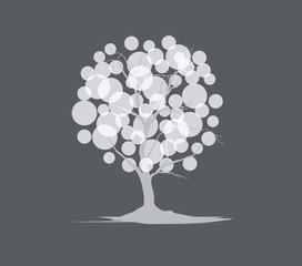 lightened white balloon tree
